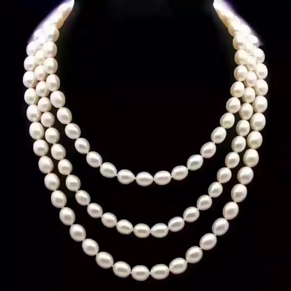 Natural White Rice Freshwater Pearls 7-8mm Long Necklace 150cm