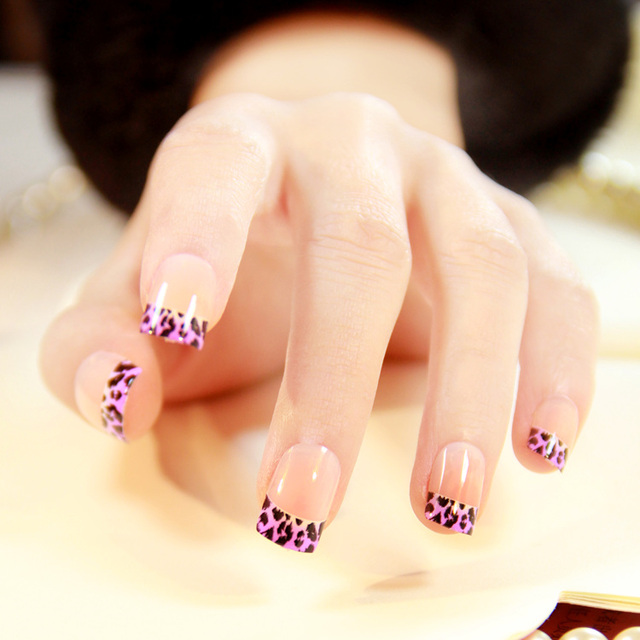 American Style New Translucent Purple Leopard Printed Pattern False Nails Set French Short Size Full Nail