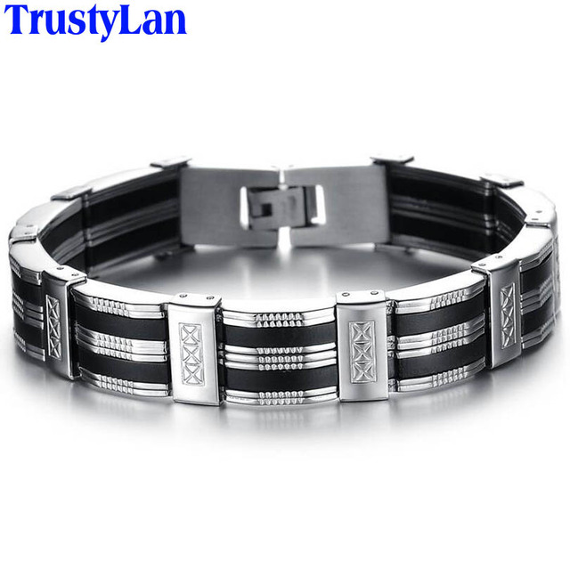 Trustylan Accessory Men Bracelet Brazalet High Quality Stainless Steel Black Silicone Mens Bracelets Jewelry Wristbands