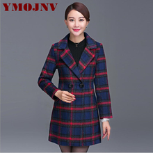 YMOJNV 2017 Autumn Fashion Elegant England Style Wool Blend Coat Women Winter Coat Double-breasted Suit-collar Slim Plaid Jacket
