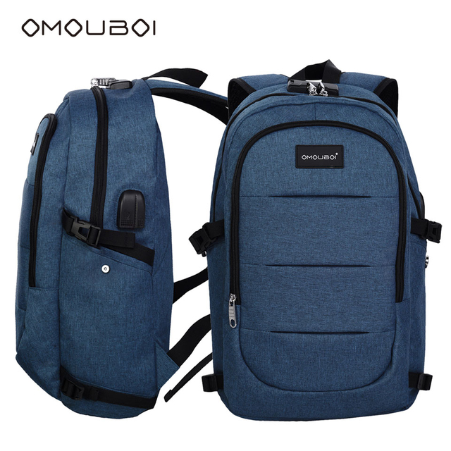 Omouboi Blue Anti Theft Day Back Packs Durable Sports Bag Dual Sockets Leisure Outdoor Laptop