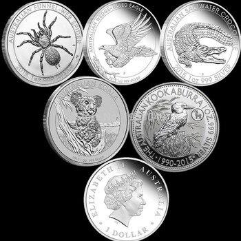 Mix 5pcs/lot,1 One Troy Oz  Silver Plated Coins,Spider + crocodile + koala +Wedge Eagle+ kookaburra,High Quality Co 10pcs lot 2016 australia 1 oz silver coin mint 1 oz 999 sliver australia wedge tailed eagle good quality copy sliver coin