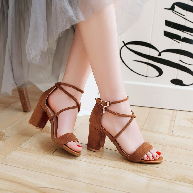 Big Size 11 12 13 14  High heels sandals women shoes woman summer ladies  Open toes button up a hundred pairs of thick heelsBig Size 11 12 13 14  High heels sandals women shoes woman summer ladies  Open toes button up a hundred pairs of thick heels