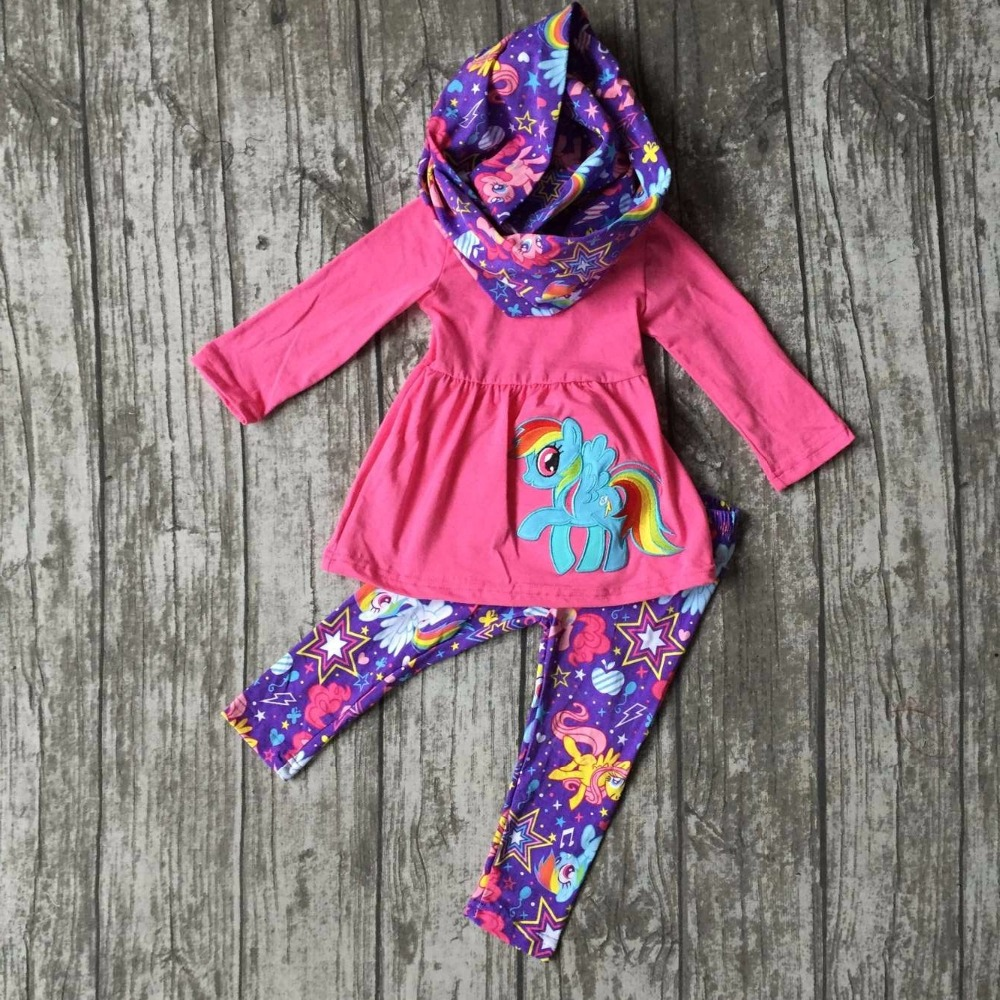 Fall/winter 3 pieces scarf hot pink baby girls kids OUTFITS Unicorn print pant little pony hot sell boutique clothes kids sets football clothes tutus touch downs fall baby girls boutique skirt ruffle hot pink long sleeves bow heart with matching accessory