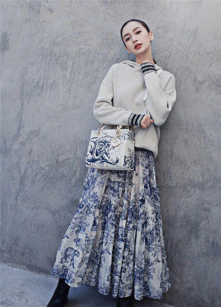 3084820680e37 2019 Runway Women Long Skirt Luxury Animal Printing High Waist Pleated  Large pendant Skirt European Designer Party Maxi Skirt