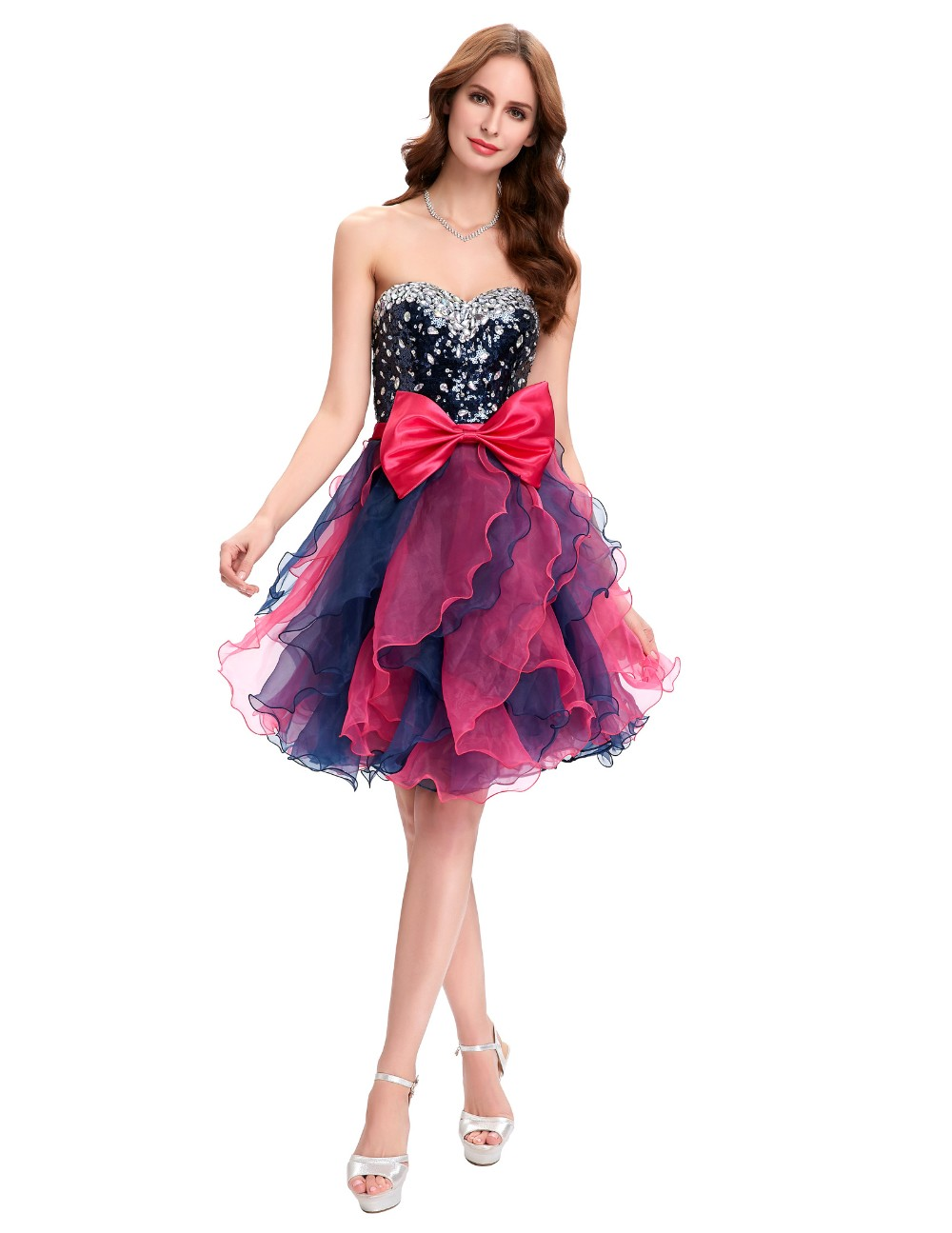 Grace Karin Short Prom Dress Ball Gown Robe De Cocktail Colorful Sequin Organza Prom Gowns Sexy Party Special Occasion Dress 8