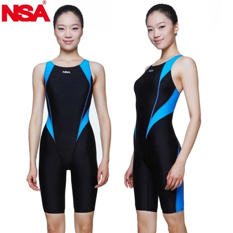 NSA swimwear free shipping women professional training competition swimwear waterproof girls kids racing swimsuit bathing suit