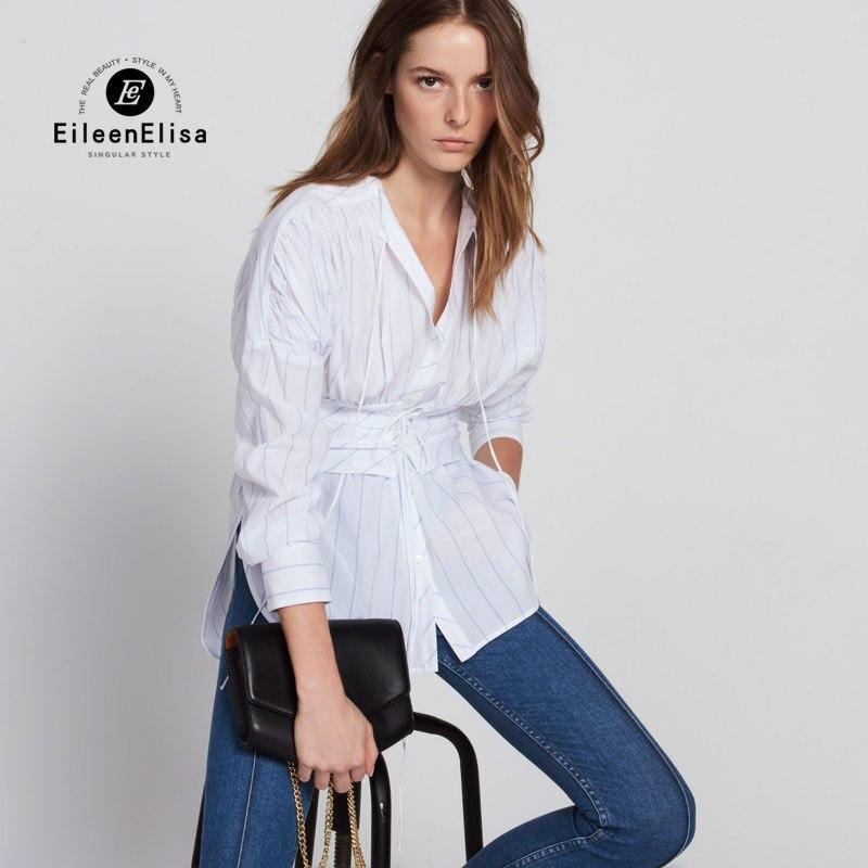 Women Blouses Autumn 2017 Blue Striped Blouse Elegant Tight Waist Shirt White Blouses Lace Up Neck