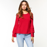 Fashion Tops Women Ruffles T Shirt Solid Color O Neck Flare Sleeve Tees Shirts Female Loose