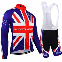 BXIO Long Sleeve Cycling Sets Pro Team Bicycle Clothes England MTB Bike Jerseys Ridding Wears Bretelle Ropa Ciclismo 071MIX