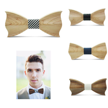 Wood Bow Tie Mens Wooden Bow Ties Gravatas Corbatas Business Butterfly Cravat Party Ties For Men Wood Ties Wedding Dropship Hot