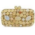 XIYUAN синий/золотой цвет 100% натуральный клатч с камнями сумка квадратная сумочка для вечеринки женская сумка-почтальон вечерняя сумочка  сум...