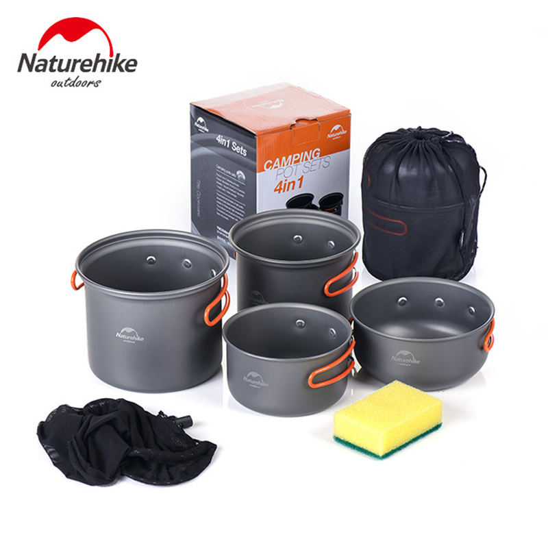 Naturehike 3 PersonOutdoor Camping Cookware Utensils Four Combination Cookware Tableware For Picnic Bowl Pot Pan Set