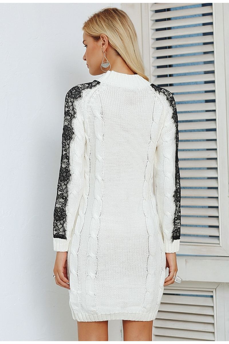 Simplee O neck twist knitted sweater dress women Elegant lace autumn winter dress 2018 Vintage long sleeve white dress vestidos 5