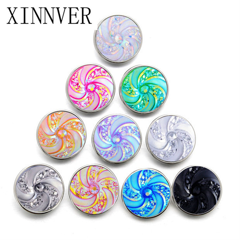 10pcs/lot 18mm Round Spiral Snaps Buttons For Snaps Jewelry Button Bracelets Fit Necklace Bracelet Earing Button Jewelry ZD033