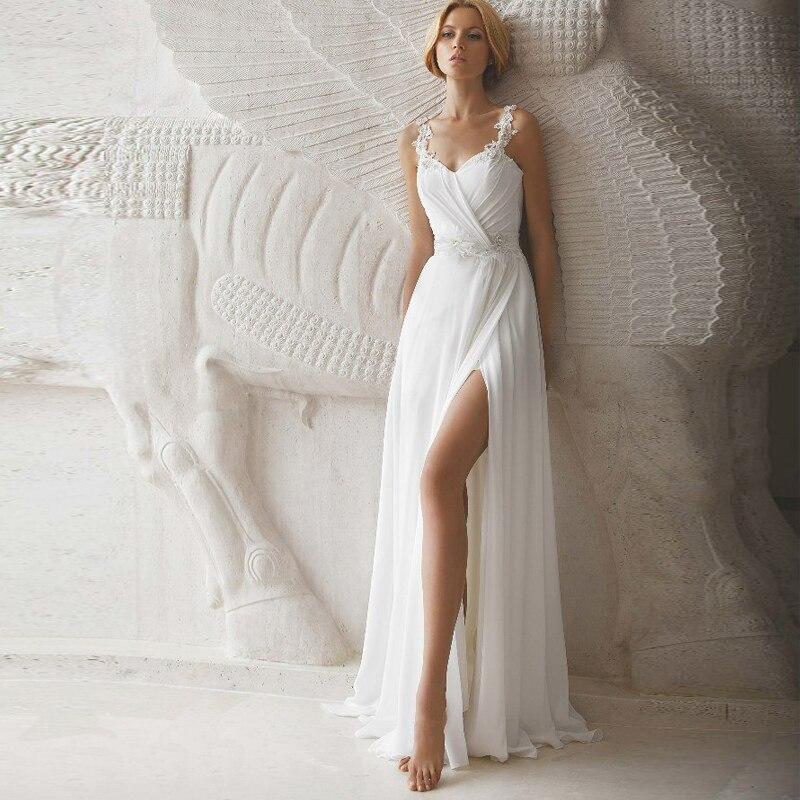 Sexy Beach Gasa Vestido De Novia Casamento vestido de Novia De Renda Vestidos de