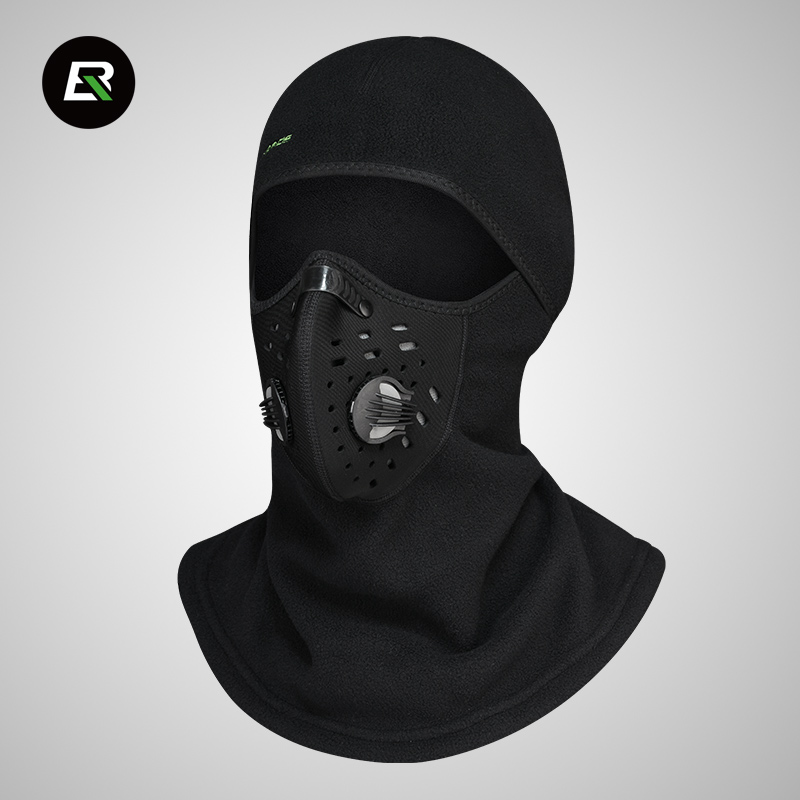 ROCKBROS Winter Fleece Cycling Headwear with Full Face Mask Bicycle Cap Riding Hat Windproof Bike Scarf for Head Neck Face Black jaisati winter outdoor riding windproof cap fleece hood cs hat mask thick warm snow cap dust mask