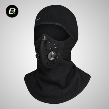 ROCKBROS Winter Fleece Cycling Headwear with Full Face Mask Bicycle Cap Riding Hat Windproof Bike Scarf for Head Neck Face Black