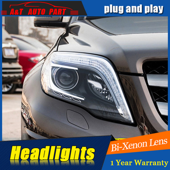 Car Styling For GLK headlight assembly 2012-2015 For GLK LED head lamp Angel eye led DRL front light h7 with hid kit 2pcs.