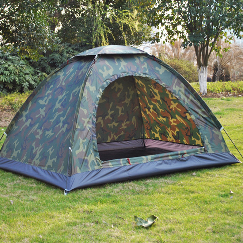 1 4 Person Portable Outdoor Camping Camouflage Tent Outdoor Camping Recreation Double Couple Camping Tent Ultraviolet proof Tent-in Tents from Sports & Entertainment