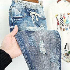 Image 4 - Pantalones Vaqueros rasgados para Mujer, Vaqueros Boyfriend de estilo Vintage holgados de cintura alta, Vaqueros de talla grande 5XL, Pantalones Q58 para Mujer