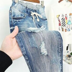 Image 4 - Verão rasgado namorado jeans para as mulheres moda solta vintage cintura alta jeans plus size 5xl pantalones mujer vaqueros q58