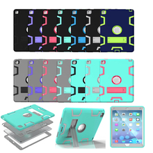 For Apple iPad Pro 9.7 Heavy Duty Rugged Combo Back Cover case For Apple iPad 6 Air 2 Tablet Case With Kickstand