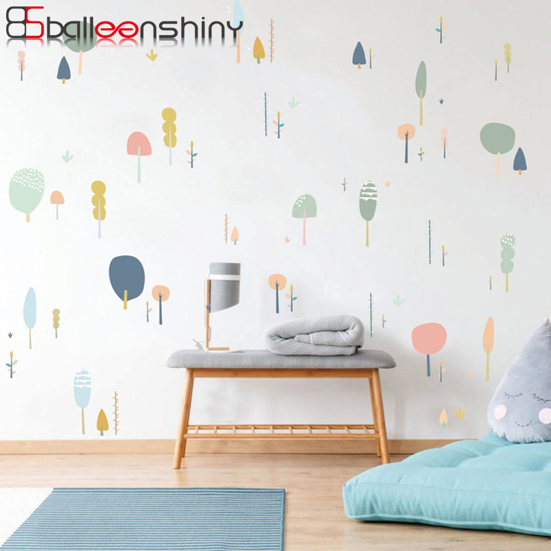 Balleenshiny Cartoon Sapling Trees Wall Sticker Nordic Style Plant Bedroom Living Room Decorative Poster Home Office Mural Decal