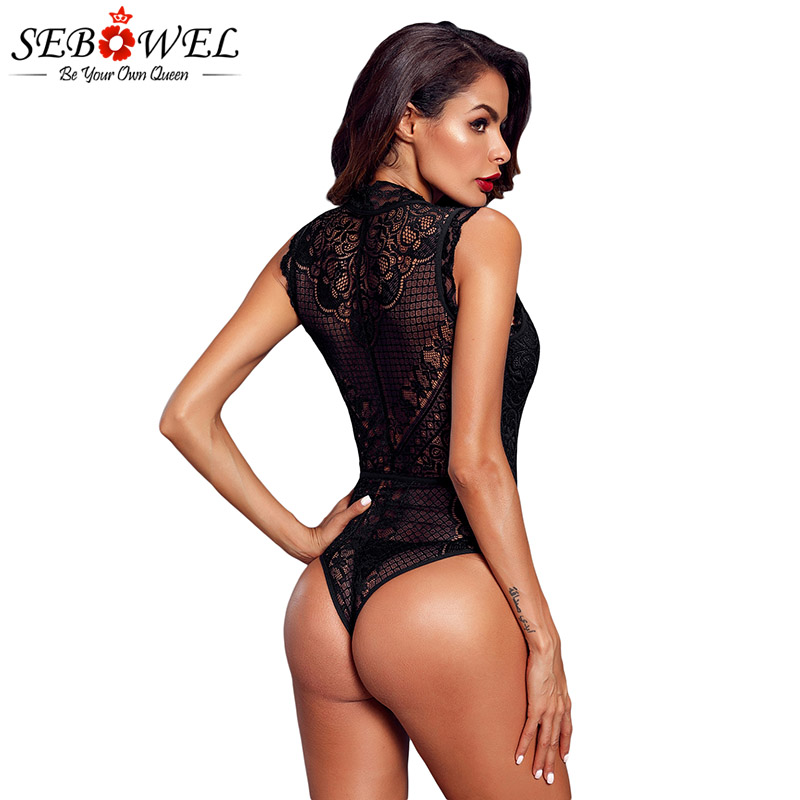 Black-V-Neck-Hollow-out-Lace-Bodysuit-LC32247-2-4