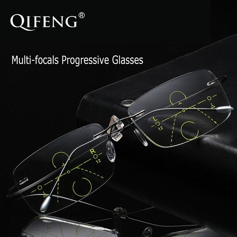 QIFENG Multi-focus Progressive Óculos de Leitura Sem Aro Homens Óculos de Dioptria Presbiopia Masculino + 1.0 + 1.5 + 2.0 + 2.5 + 3.0 + 3.5 QF209