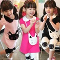 New Kids Baby Girls Clothes 2 pcs Cotton Kitty Pattern Lapel T-shirt+Short Pants Dropshipping