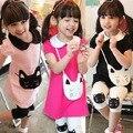 Nova Crianças Meninas Roupas de Bebê 2 pcs Algodão Gatinho Padrão Lapela T-shirt + Calças Curtas Dropshipping
