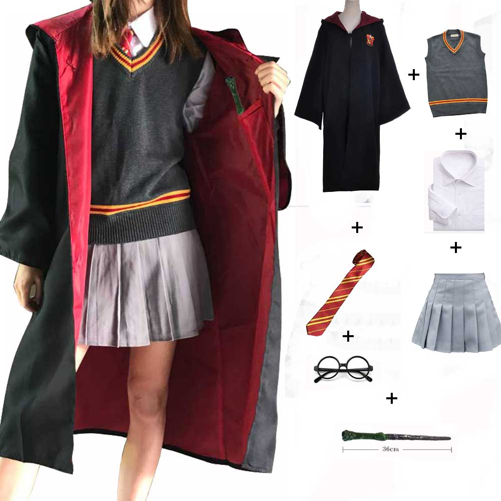 Gryffindor Hufflepuff Slytherin Ravenclaw Costume Hermione Granger Cosplay Robe Skirt  Glasses Uniform Halloween Costume