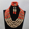 New African Wedding Coral Jewelry Set Gold Accessories Add Coral Beads Bridal Necklace Jewelry Sets 4 Layers Free Shipping CJ759