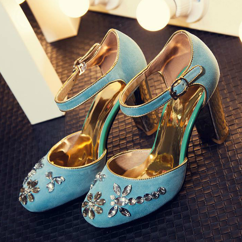 New Fashion Large Size Brand Shoes Round Toe Party Wedding Ankle Strap High Heel Women Pumps Sweet Sandals Office Lady Shoes 99 2017 new fashion brand spring shoes large size crystal pointed toe kid suede thick heel women pumps party sweet office lady shoe