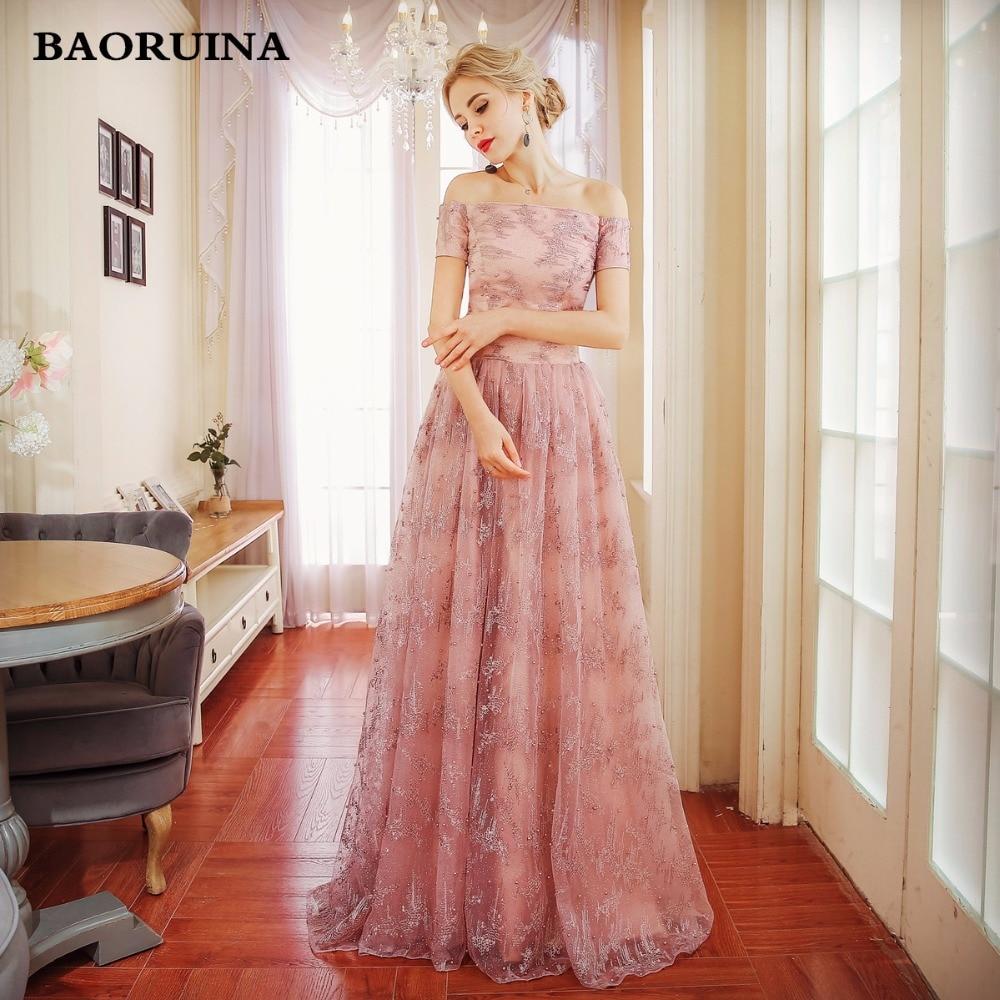 Sob $50 Elegante Frisada de Cristal Rosa Real Lace A Linha de Vestidos Longos de Noite 2018 do baile de Finalistas Vestido de Festa Robe De Soirée Longue