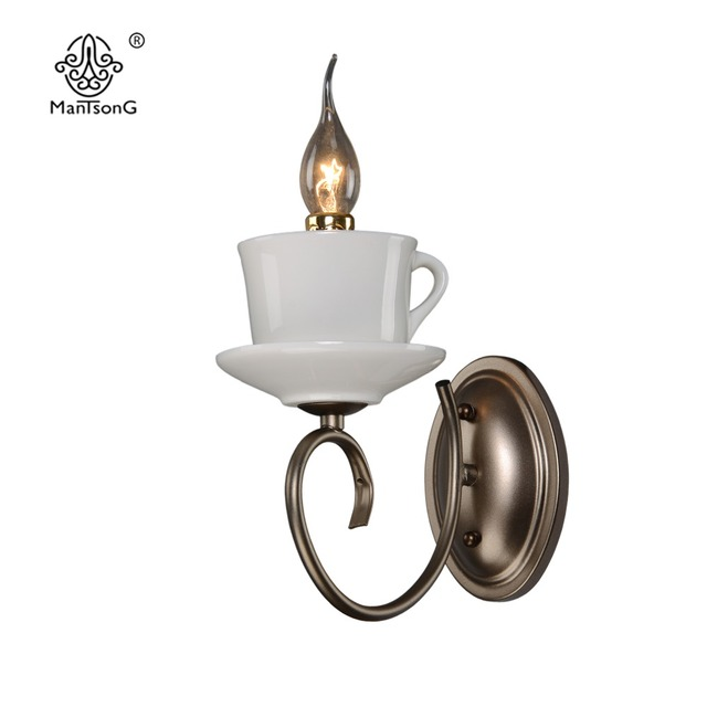 Vintage Kerze Wandleuchte Wandleuchte Für Wohnzimmer Schlafzimmer Eisen Wandleuchten  Badezimmer Retro Teekanne Keramik Wand Lampen Beleuchtung