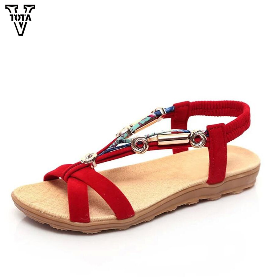 VTOTA Summer Bohemia Shoes Woman Casual Women Sandals Flats Sandals Women Peep Toe Flat For Women Beaded Zapatos Mujer LGQY03 summer sandals women clogs beach slipper women shoes casual sneakers women flats sandals ladies shoes zapatos mujer