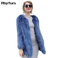 Новое вязаное пальто из меха енота, модная куртка средней длины из натурального меха, вязаные пальто