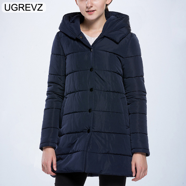 4032e562ad8 UGREVZ 2018 New Women Winter Jacket Down Cotton Padded Coats Female Casual  Thick Warm Winter Coat Hooded Long Loose Parkas