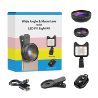 3in1 Lens Kit Rechargeable Selfie Lamp+0.45x Wide Angle+12.5x Macro Lens Phone Camera with Bluetooth for iPhone Samsung