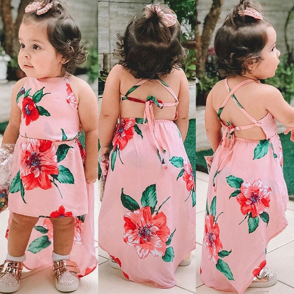 Toddler Baby Girl Summer Flower Print Backless Strap Party Pageant Dress Casual Clothes