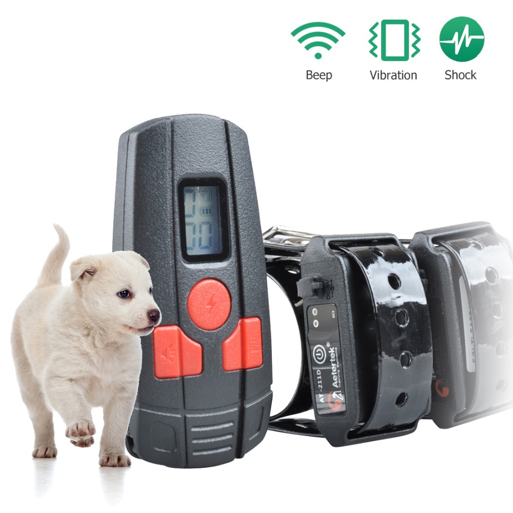 Free Shipping Aetertek AT 211D 2 Rechargeable Small Dog Cat Training Collar with 350M remote range