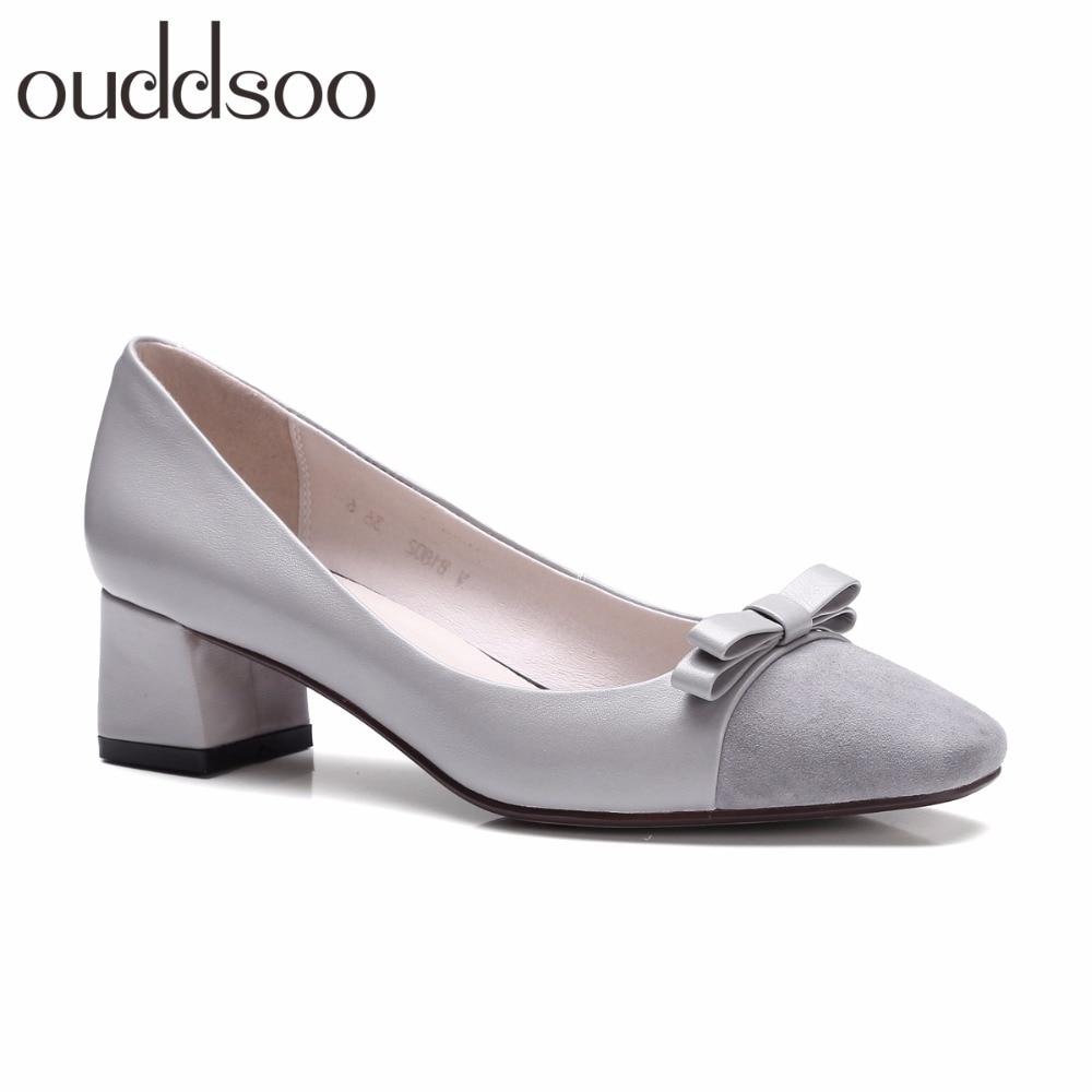Ouddsoo 2018 Bow Tie Korean Wild Square Head Grandma Bow Shallow Mouth Medium Thick Heels Bridesmaid Square Rough Women Shoes цена и фото