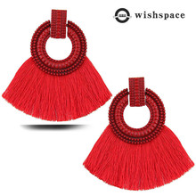 America and Europe pop alloy hollow out sticky thread tassel Bohemian women earrings