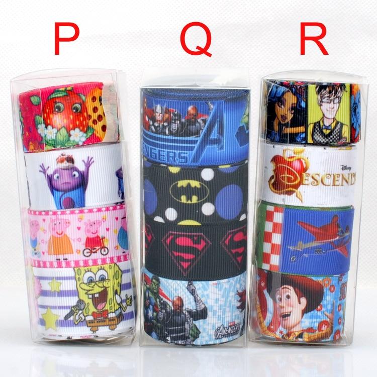 Бесплатная доставка pvc коробка 12 ярдов новый 4 стиль коллокации прекрасный с печатным рисунком Grosgrain ленты, каждый 3 метров
