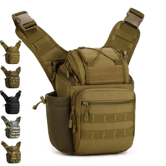 Men 1000D Nylon Shoulder Messenger Cross Body Saddle Bag Military Travel Riding Water Bottle Pack