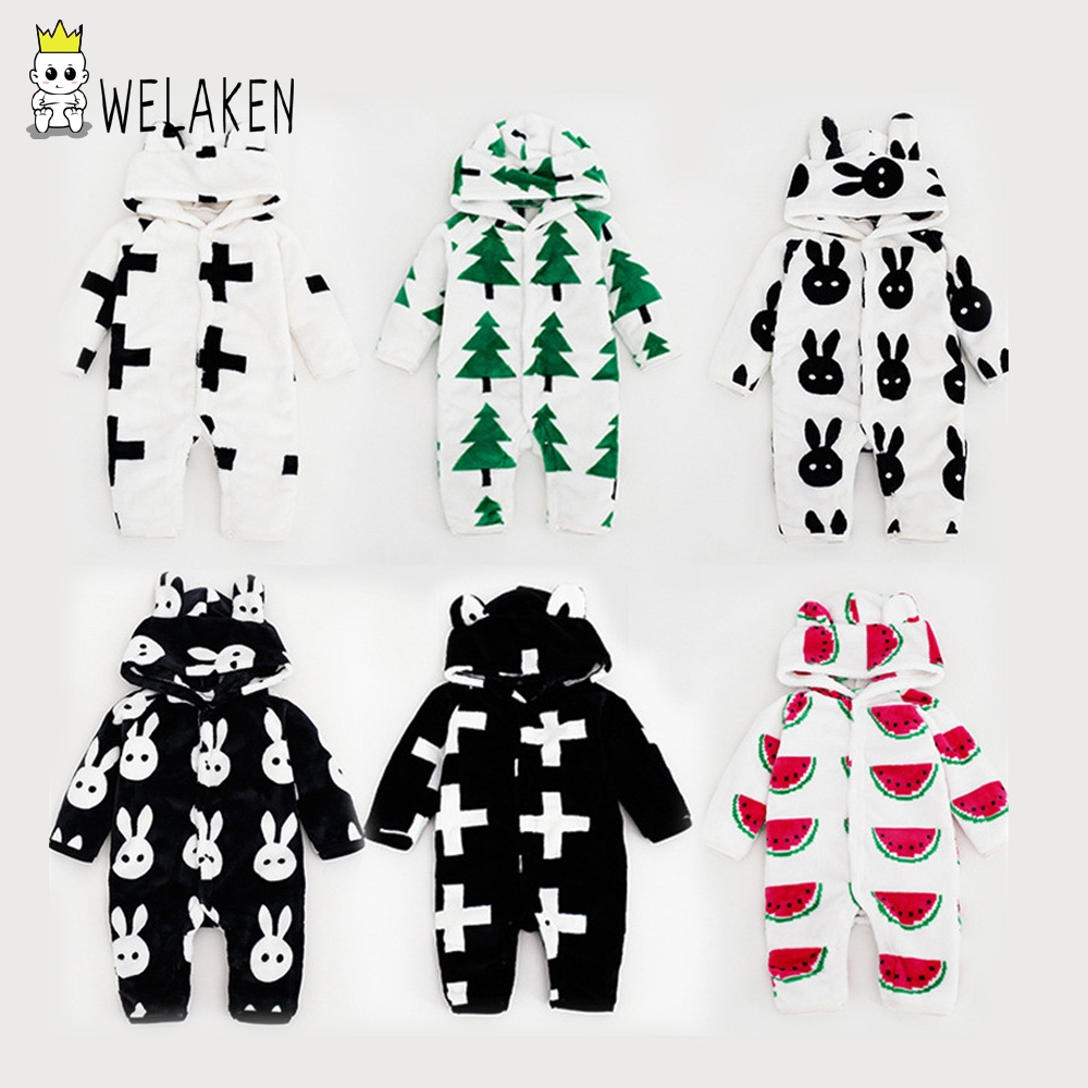 2017 Baby Rompers Winter Baby Clothing for Newborns Fleece Costume Baby Wear Jumpsuits Cartoon Animal Boys