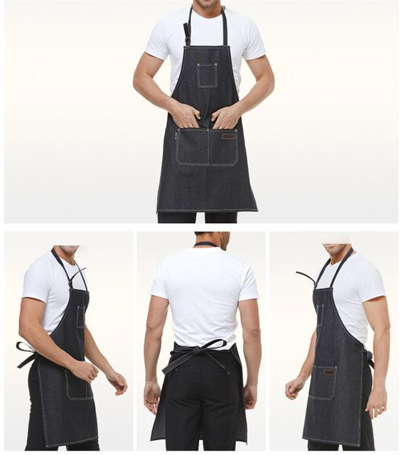 2017 New Aprons Denim Simple Antifouling Uniform Unisex Adult Aprons for Woman Men's Male Lady's Kitchen Cooking Pinafores DJ079