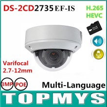 DS-2CD2735EF-IS 2.7-12mm varifocal lens Dome IP Camera 3MP  IP66 IR POE Network CCTV Camera Audio and Alarm Home security camera